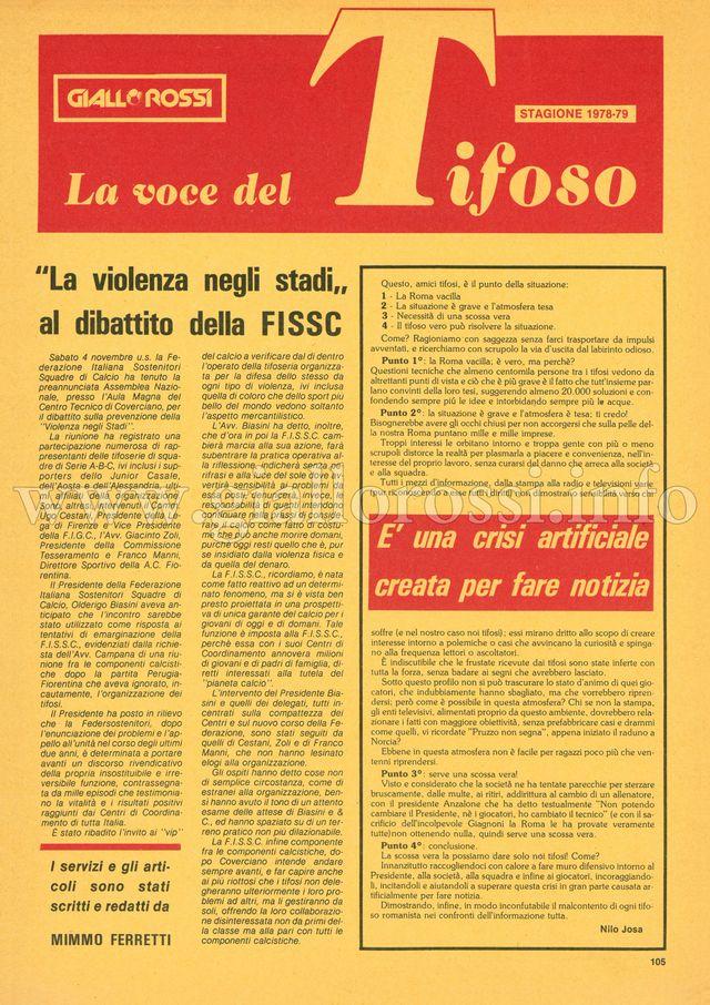 Clicca per leggere La voce del Tifoso da pag. 105 a pag. 112