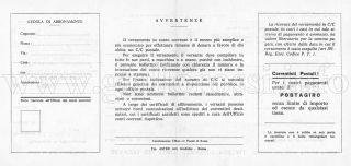Bollettino postale per l'abbonamento (Retro)