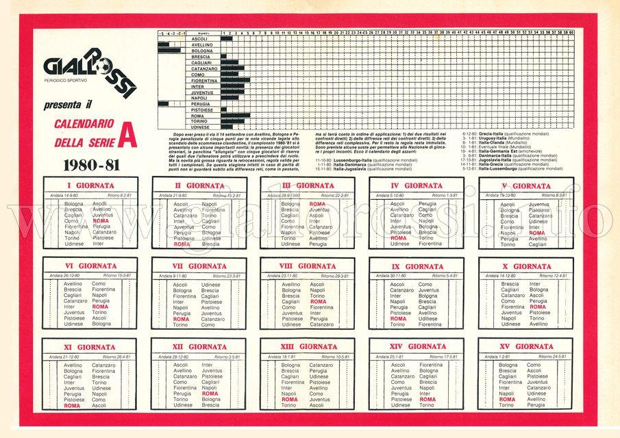 Calendario della Serie A 1980/81