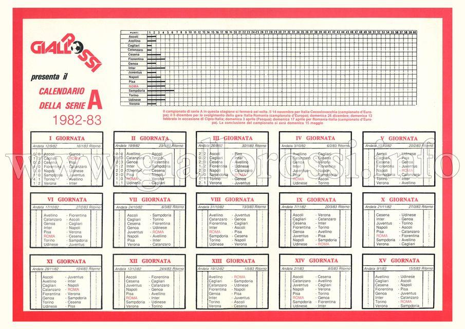 Calendario della Serie A 1982/83