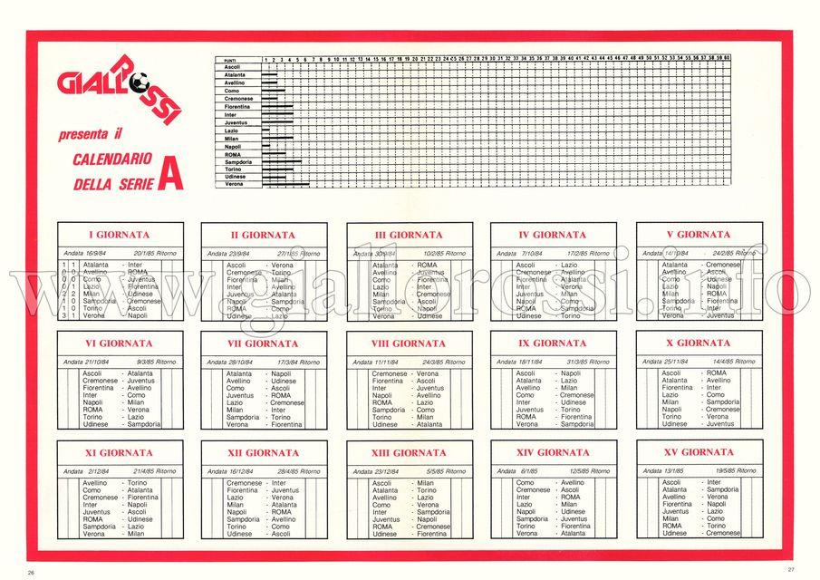 Calendario della Serie A 1984/85