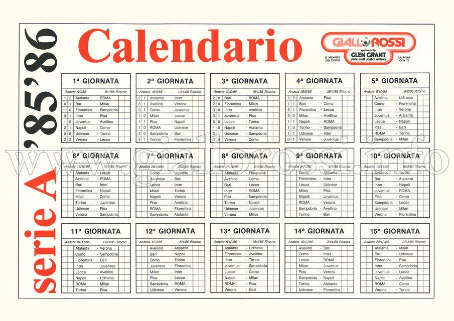 Calendario della Serie A 1985/86