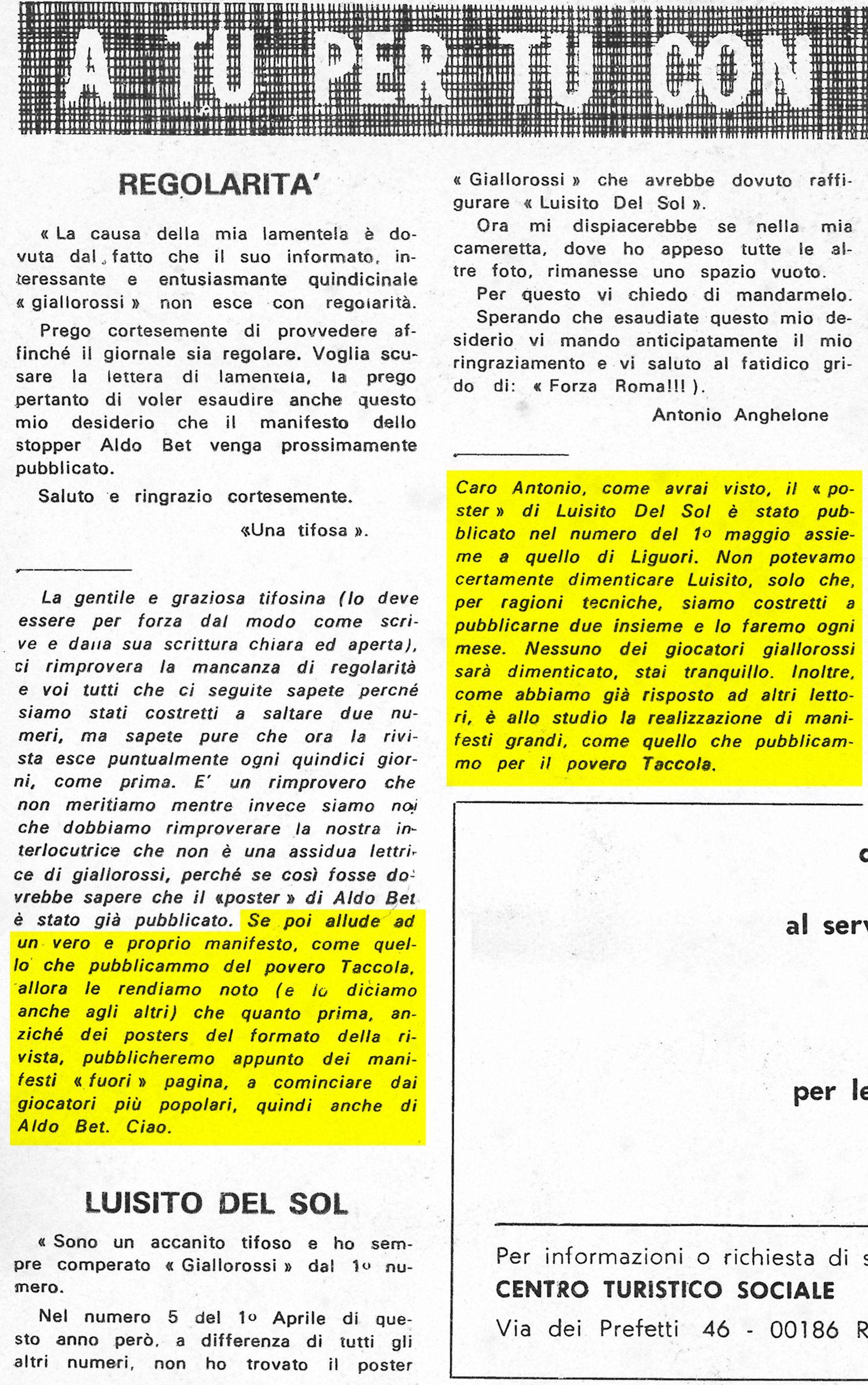 Giallorossi n. 8 – 15 maggio 1972, pag. 2